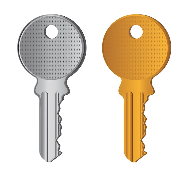Silver and gold keys isolated over white background