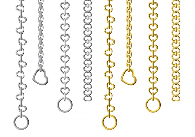 Silver and gold metal chains
