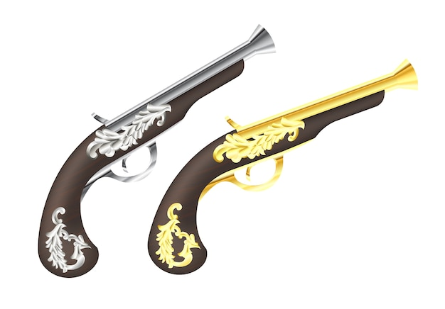 Silver and gold pirate pistol on a white background