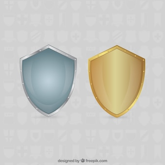 Silver and gold shields