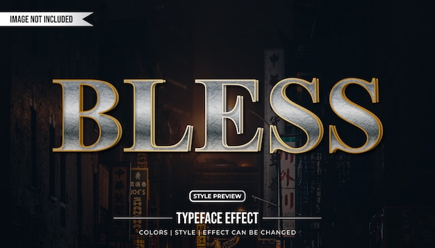 Silver and gold text effect with elegant style
