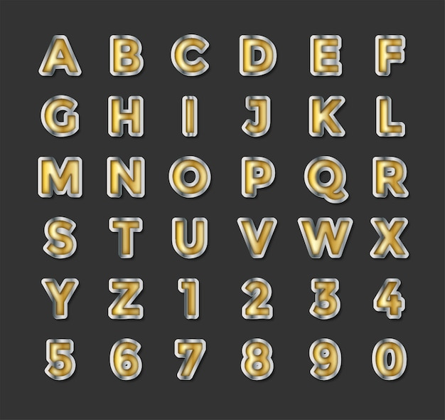 Silver and gold text effet. vector illustration download