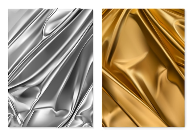 Silver and gold texture. foil, fabric. 3d realistic background