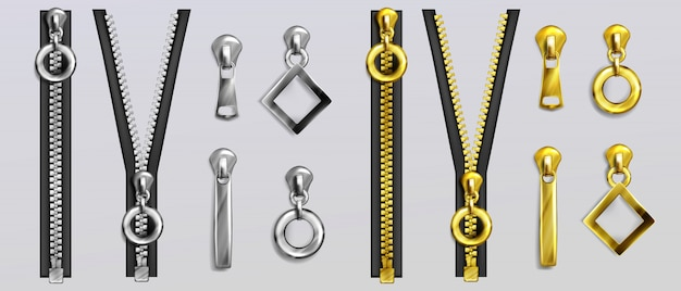 Silver and gold zippers with different shapes pullers isolated on gray background. realistic set of open and closed metal zip fasteners and sliders for clothes and accessories