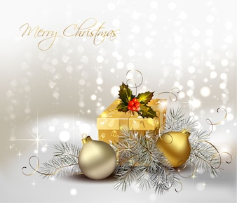Silver golden Christmas background