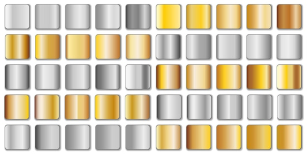 Silver and golden gradient set isolated on white