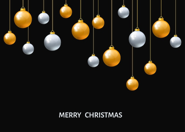 Silver and golden  hanging christmas balls isolated on black  background. xmas realistic baubles. vector holyday decorations.