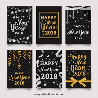 Silver and golden lettering new year 2018 cards