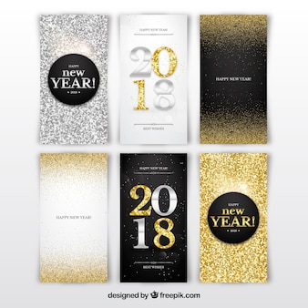 Silver and golden new year 2018 cards with glitter