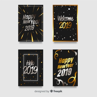 Silver and golden new year card collection