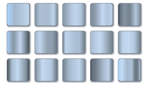 白で隔離の銀のグラデーションコレクション