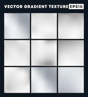 Silver gradient texture background set