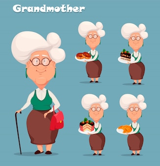 Silver haired grandma, set of five poses