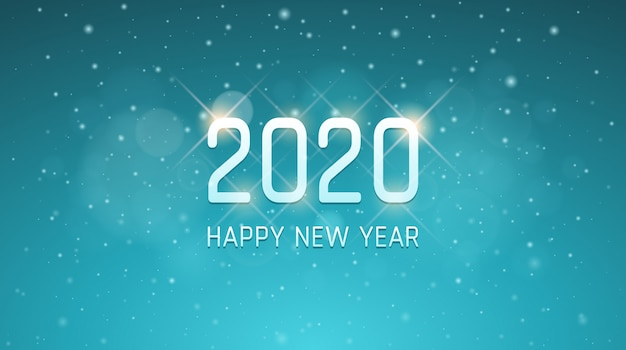 Silver happy new year 2020 with snowflakes in vintage blue color background