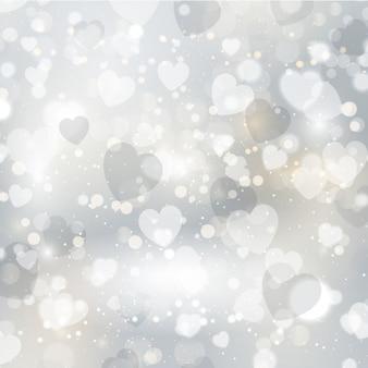 Серебряные сердца яркий фон
