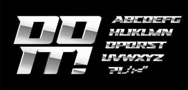 Silver letters and symbols set on black background. metal style vector latin alphabet. font for automotive or bodybuilding sport. typography design.