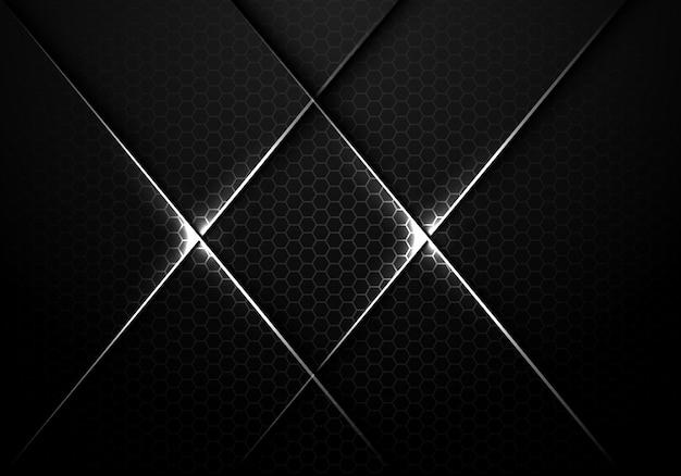 Silver line cross on dark hexagon mesh background.