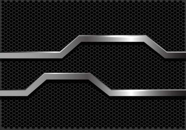 Silver line polygon banner dark hexagon mesh background.