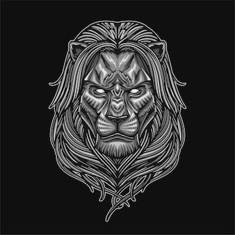 Silver lion illustration