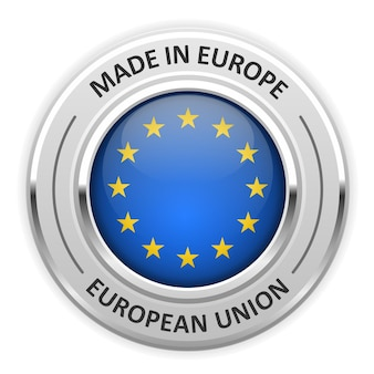 Silver medal made in european union (eu) with flag