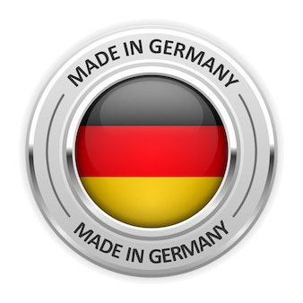 Silver medal made in germany with flag