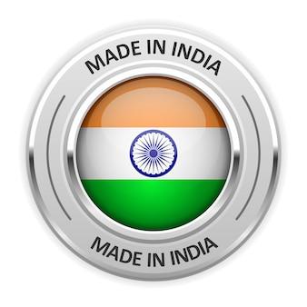 Серебряная медаль сделано в индии с флагом