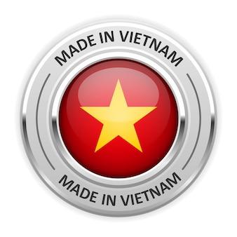 Серебряная медаль сделано во вьетнаме с флагом