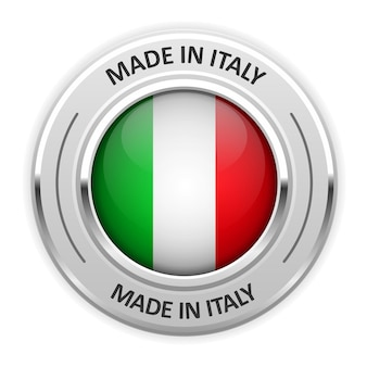 Silver medal made in italy with flag