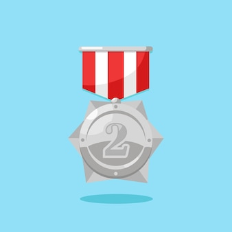Silver medal with red ribbon for second place. trophy, winner award  on blue background. badge icon. sport, business achievement, victory concept.