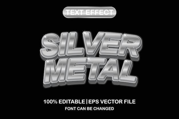 Серебряный металлический 3d редактируемый текстовый эффект