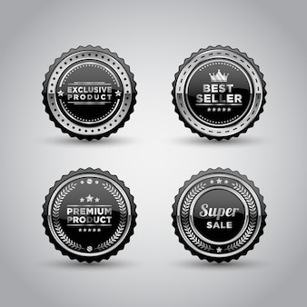 Silver metal badge and label product template