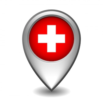 Silver metal map pointer with switzerland flag.    on white background