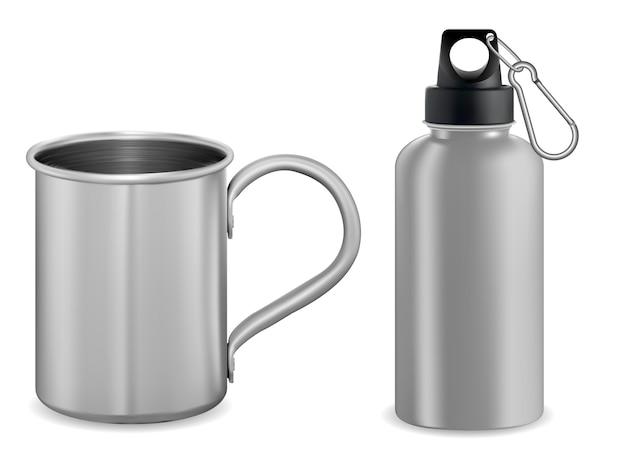 Silver metal mug. aluminum thermo vacuum flask. 3d