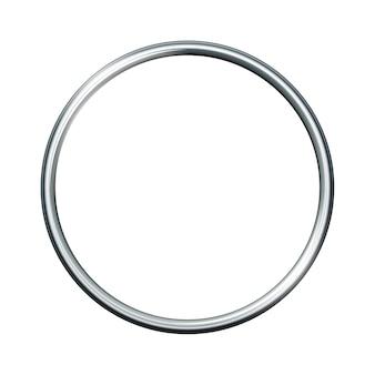 白い背景で隔離の銀の金属リング。空のフレーム