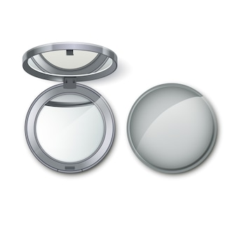 Silver metal round pocket cosmetic make up small mirror isolated