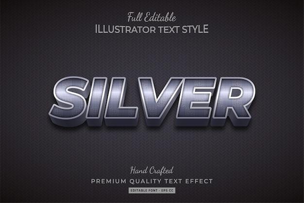 Серебряный металлический эффект стиля 3d текста premium векторы