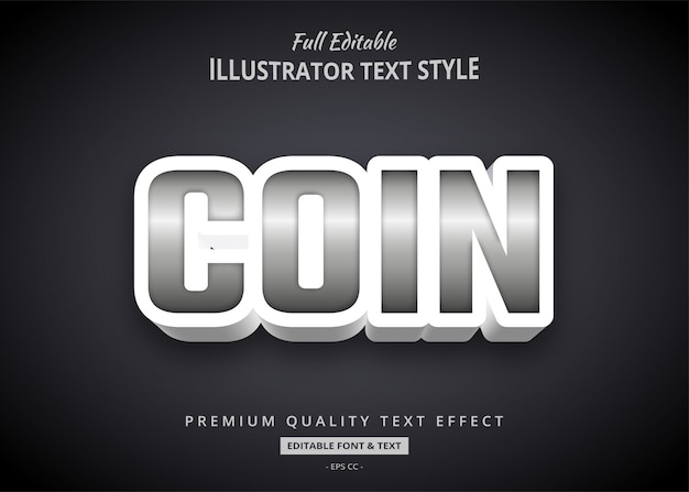 Silver metallic bold 3d text style effect
