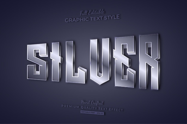 Silver metallic editable text effect font style