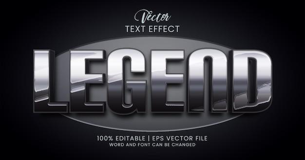 Серебряный металлический редактируемый текстовый эффект, текстовый стиль legend