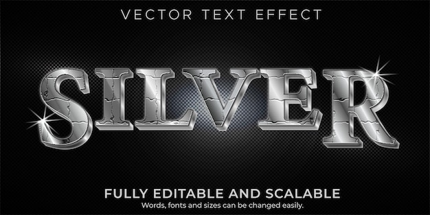 Silver metallic editable text effect and text style