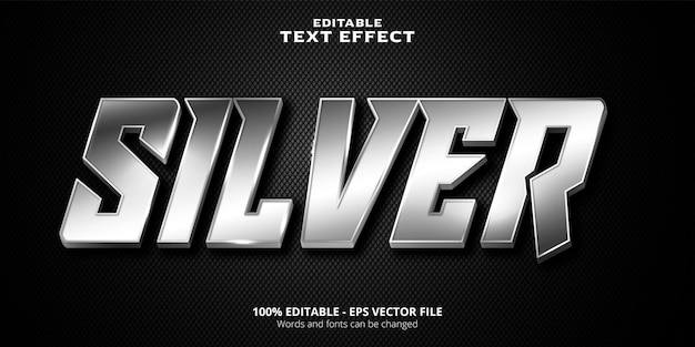 Silver metallic style editable text effect