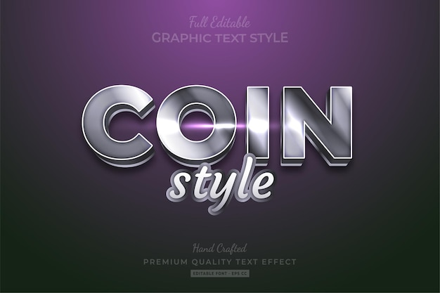 Silver metallic style shine editable premium text effect font style Premium Vector