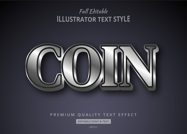 Silver metallic text style effect
