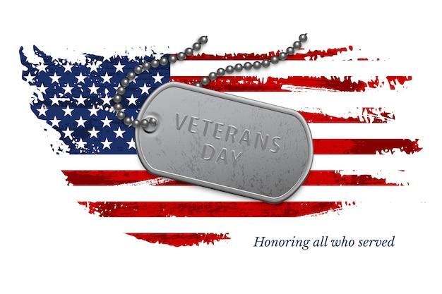 グランジ国のアメリカ国旗の上に復員軍人の日のテキストとチェーン上の銀の軍事バッジ。