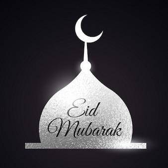 Серебряная форма мечети ид мубарака фестиваль мусульмани