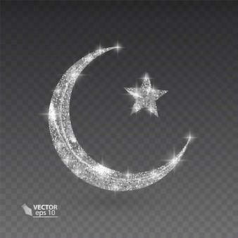 Silver muslim month with glittering texture on transparent background,   illustration