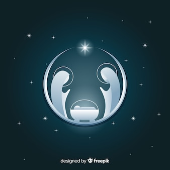Silver nativity silhouette background