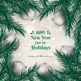 Silver new year 2018 background with fir leaves