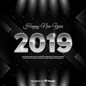 Silver new year 2019 background