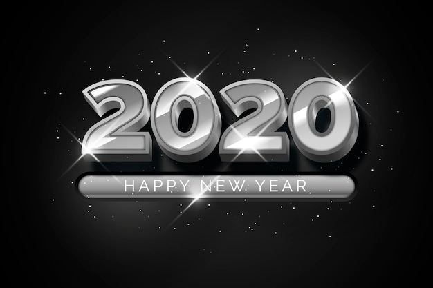 Silver new year 2020 background